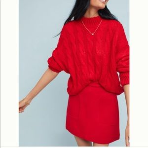 Anthropologie Maeve Novato Red Skirt